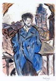 Bob Dylan, Man on a Bridge, 2007, Gouache, Aquarell über Digital Fine Art Print auf Bütten,51 x 41 cm, © Bob Dylan, Quelle: Kunstsammlungen Chemnitz